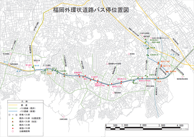 福岡外環状道路バス停位置図